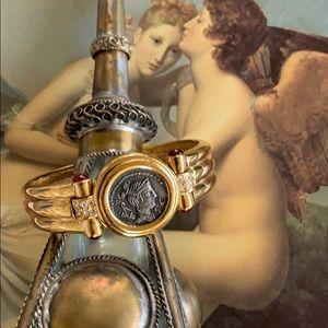 Vintage Ciner Roman God coin bracelet
